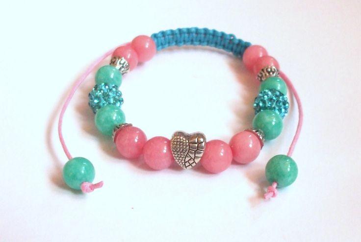 Candy floss bracelet Rhodochrosite and amazonite gemstone jewel Candy color bracelet Handmade mineral jewel Gift for her Shamballa bracelet by dorijewelnook on Etsy