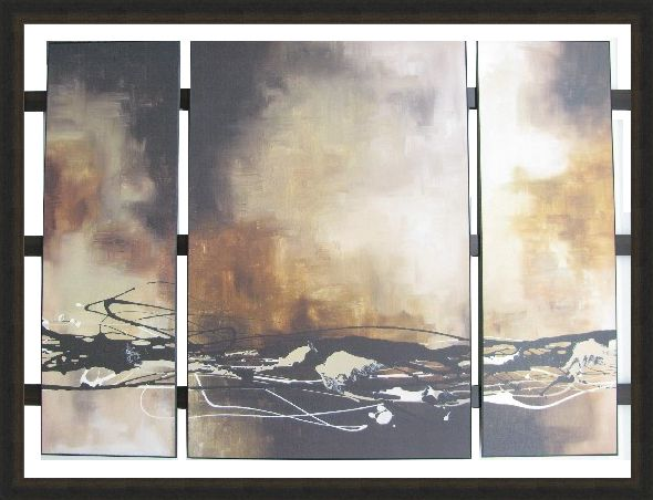 Custom Design 3 Panel triptych on a Ladder Frame! Print: Laurie Maitland - Tobacco and Chocolate I, II, III