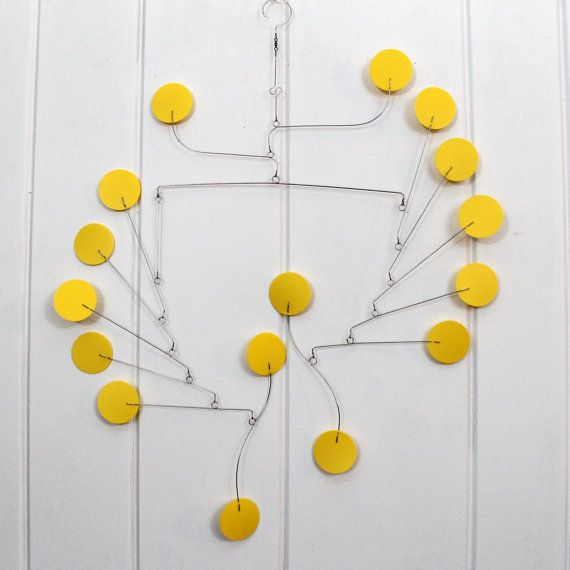 Yellow Mobile - Ceiling Mobile for your Home or Office -  Phoenix Style Kinetic Art Mobile Sculpture - Calder Inspried
