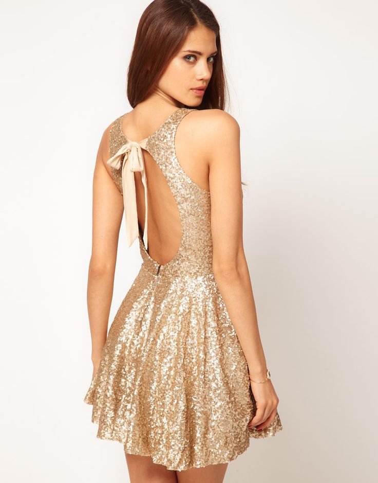 sequined bow back dress: New Years Dresses, Fashion, Style, Clothing, Sequins Dresses, Sparkle, Open Backs, Holidays Dresses, Gold Dress