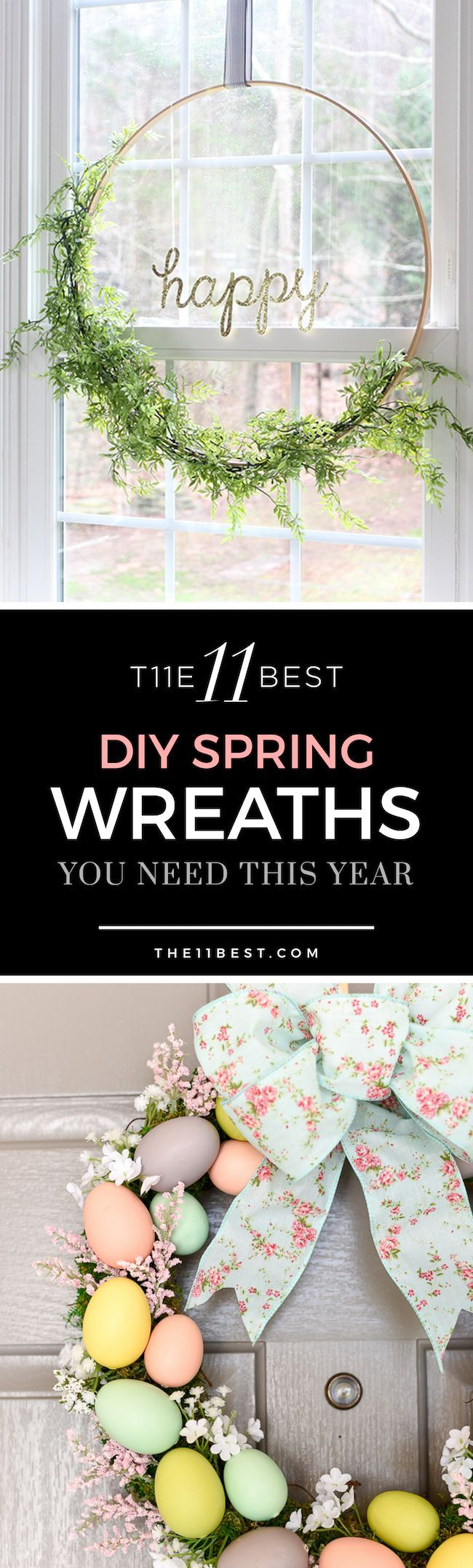 DIY spring wreath ideas. Tulip wreath. Easter wreath. Easter egg wreath. Hose wreath.