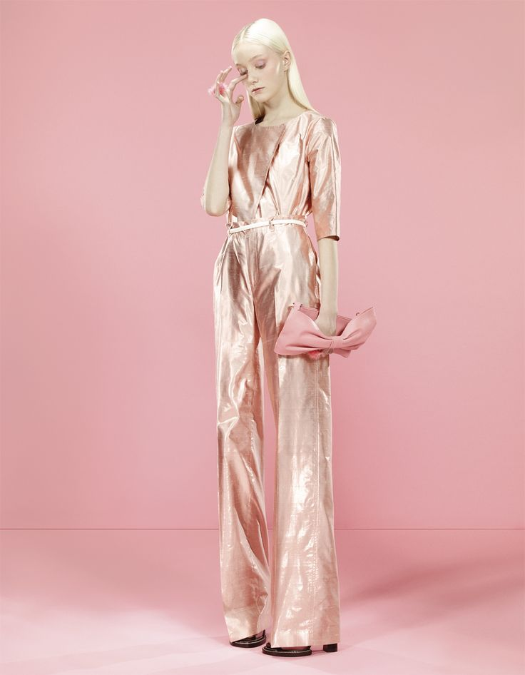 Can you identify and credit the designer of this fabulous pink metallic jumpsuit?   Magazine credit is: OUT NOW/Editorial D Magazine 'DNA Rosa'