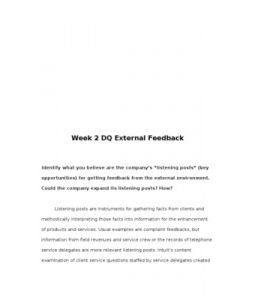 """External Feedback  Select a company and in a 250-300 word response, identify what you believe are the company's """"listening posts"""" (key opportunities) for getting feedback from the external environment. Could the company expand its listening posts? How?"""