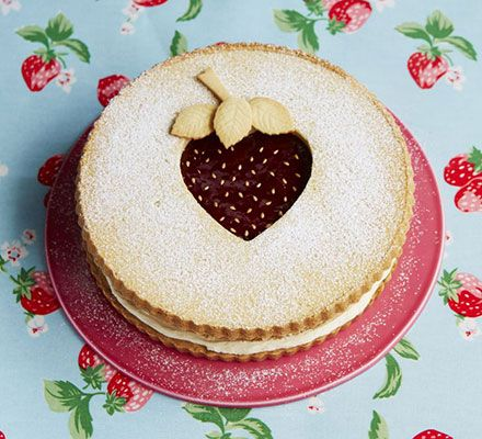 Giant strawberry shortcake. The Great British Bake Off winner combines two classic bakes - Victoria sponge and jammy shortbread. The result is dazzling