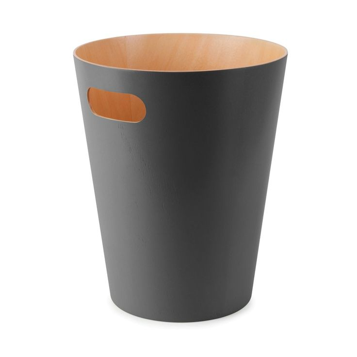 DESIGN: Henry Huang Duo-tone can brings modern contemporary where you least look for it. Wood can with stained finish. Capacity 2 1/4 gallons (9 L) Dimension...