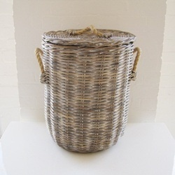 Laundry Basket Rattan Grey/White