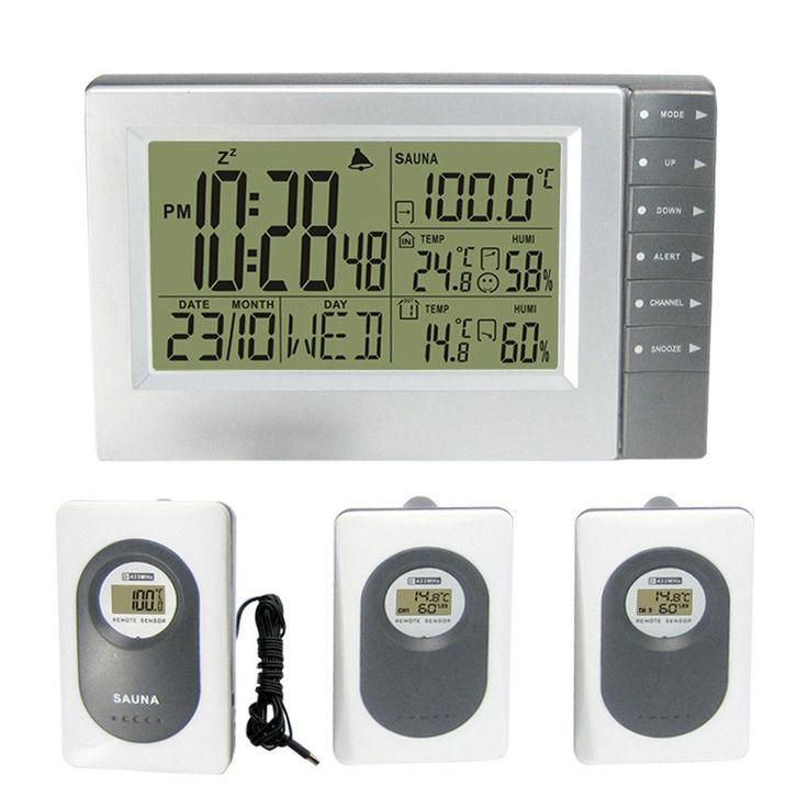 Digital Weather Station Wireless with Indoor Outdoor Thermometer Hygrometer Sauna Temperature Digital Alarm Clock 3 Transmitters
