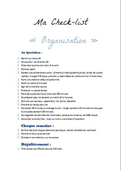 Ma check-list Organisation et bonnes habitudes saines et simples à adopter pour améliorer son quotidien à télécharger gratuitement sur lutetiaflaviae.com