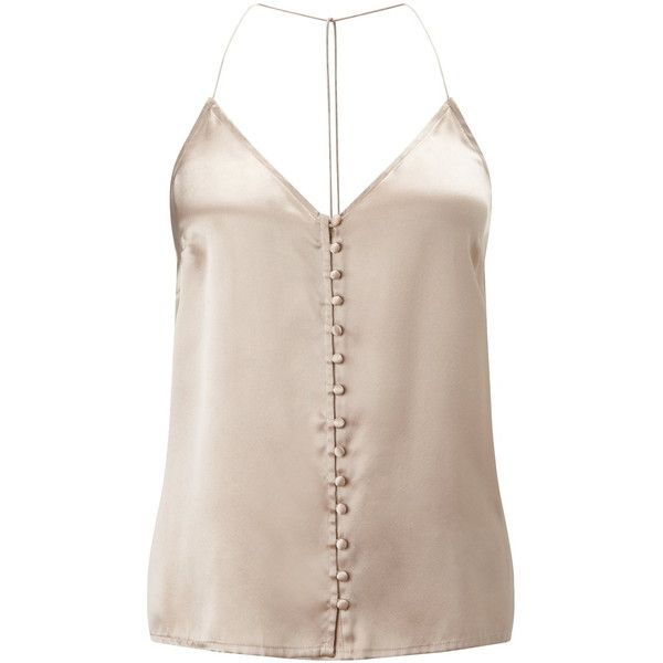 Miss Selfridge Mink Button Silk Cami Top ($61) ❤ liked on Polyvore featuring tops, cream, cami tank top, silk tank, camisole tank, pink top and cami tank