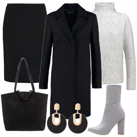 Ecco un look per chi in ufficio vuole essere impeccabile e trendy: gonna a tubino nera da indossare con il maglione con collo alto, sopra indossiamo un classico cappottino nero. Gli accessori completano il tutto in modo discreto: borsa nera, stivaletti con tacco e orecchini.