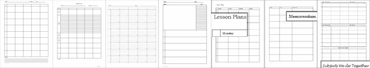 Weekly Lesson Plan Forms