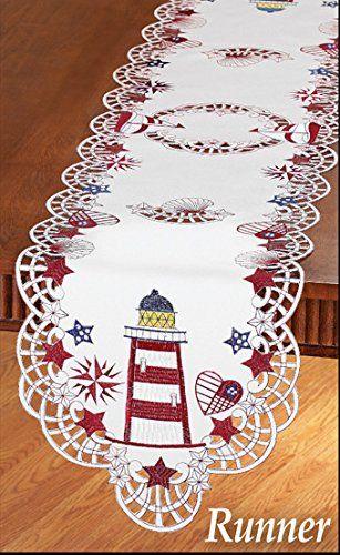 Red White Blue Lighthouse Shells Stars Table Runner