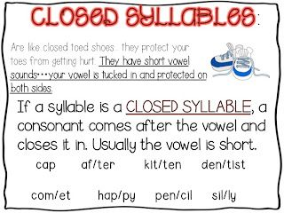 First Grade Fanatic!: closed and open syllables