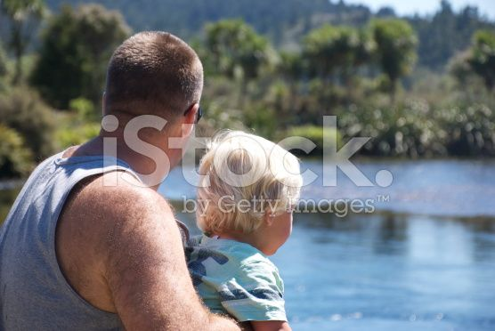 Father and Child Looking at View royalty-free stock photo
