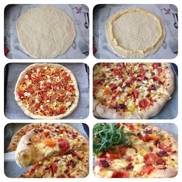 Kenarli pizzalari hep hazir alir yerdik ama simdilerde evdede aynisini yapmak hicte zor degil… Temel Pizza Hamuru: (1 firin tepsisi pizza icin) yarim kilo un 240 ml ilik su yarim paket yas ma…