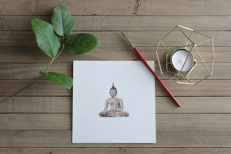 Thai Buddha Statue Watercolor Print // Small Paintings // Thailand love // Buddhism // Religions of the World // Asian Travel Art