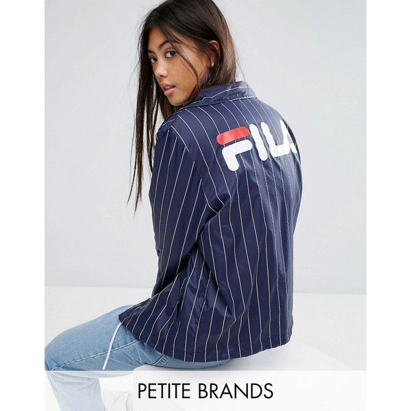 Fila Petite Pin Stripe Windbreaker With Logo Back Detail (139 AUD) ❤ liked on Polyvore featuring activewear, activewear jackets, navy, petite, fila activewear, logo sportswear, petite activewear, fila sportswear and fila