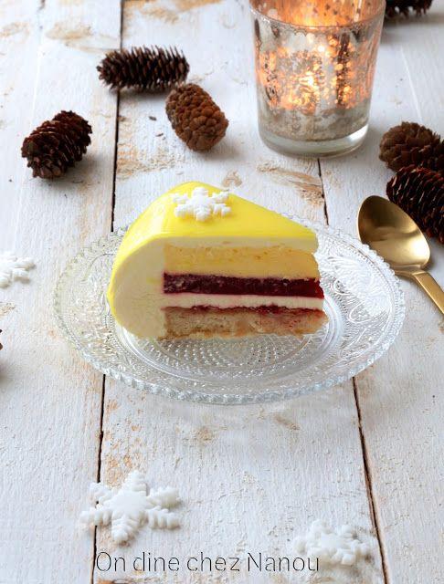 entremet de fêtes dessert au citron et aux framboises