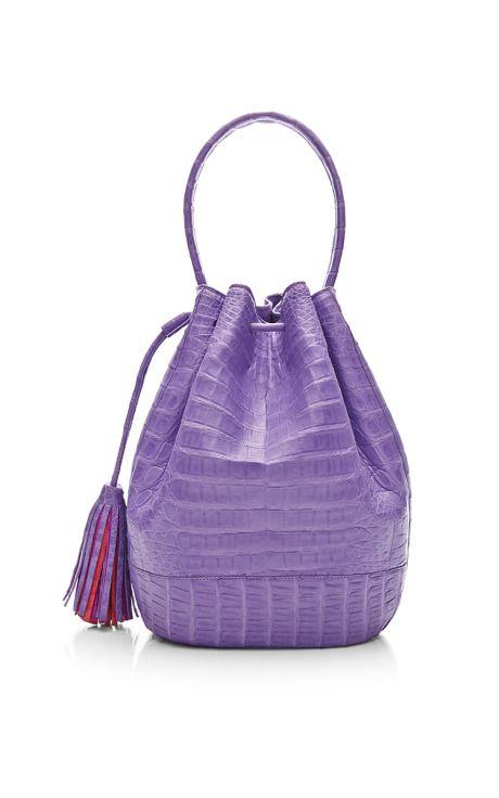 Purple Crocodile Skin Satchel by Nancy Gonzalez for Preorder on Moda Operandi
