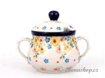 Spring Pattern SUGAR BOWL . This Handmade Polish Pottery bowl is from ELIMAshop.cz  . It was handpainted in Boleslawiec  . Bunzlau . ceramics . stoneware . ( cukřenka - ELIMAshop.cz . jaro )
