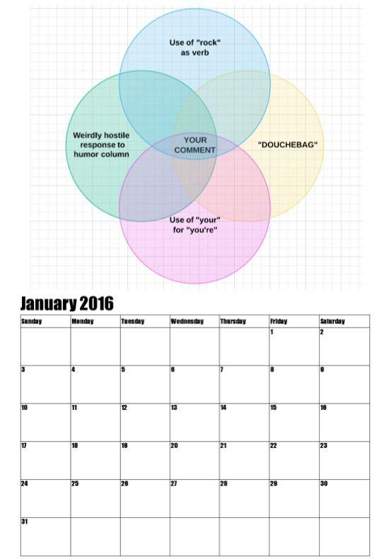 January 2016 Calendar Page
