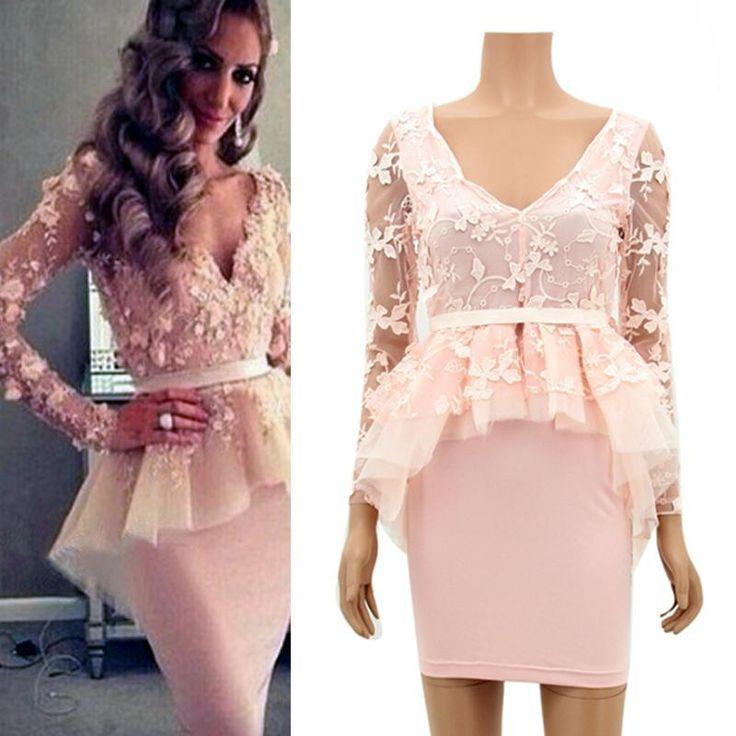 Купить товарЖенщины сексуальная глубокий V шеи платье марли кружева обтяжку коктеила ну вечеринку баски платье SML в категории Платьяна AliExpress.            100% новый и высокое качество                            Цвет: розовый                            Материал: к