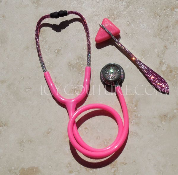Pink STETHOSCOPE with Swarovski Crystals by IcyCouture on Etsy, $220.00