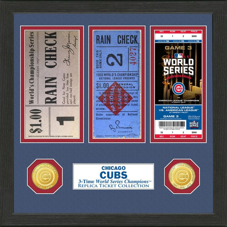 "Chicago Cubs Highland Mint 13"" x 13"" World Series Ticket Collection"