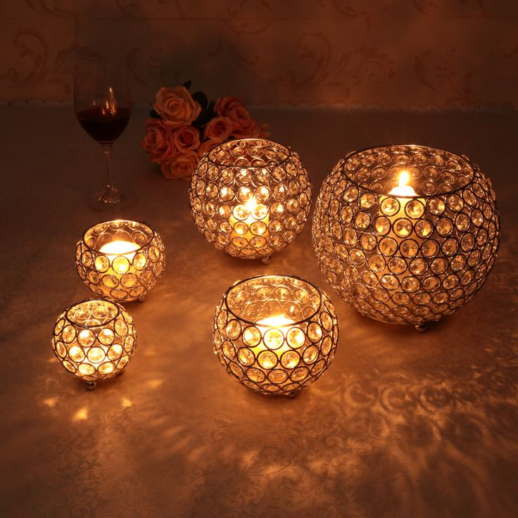Gold Votive Candle Holders Wedding Centerpieces Crystal Bowl Candelabra for New Year Home Decoration(China (Mainland))