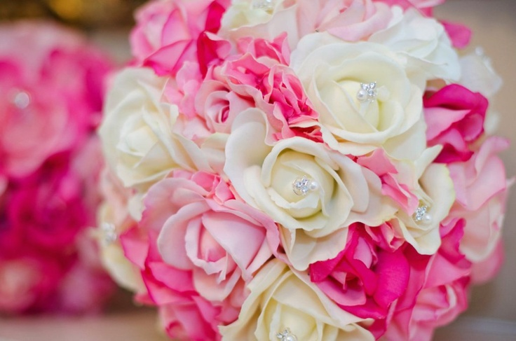 hot pink wedding bouquets | Real Touch Bridal Bouquet - Hot Pink, Soft Pink and White with ...