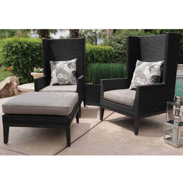 A Classic Yet Modern Outdoor Lounge Set With Traditional Wingback Chairs