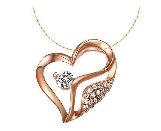 Christmas Gift GVBORI  Heart Jewerly 18K Rose Gold Natural Diamond Heart Pendant Fine Jewelry Wedding/Engagement  For Women $666.50