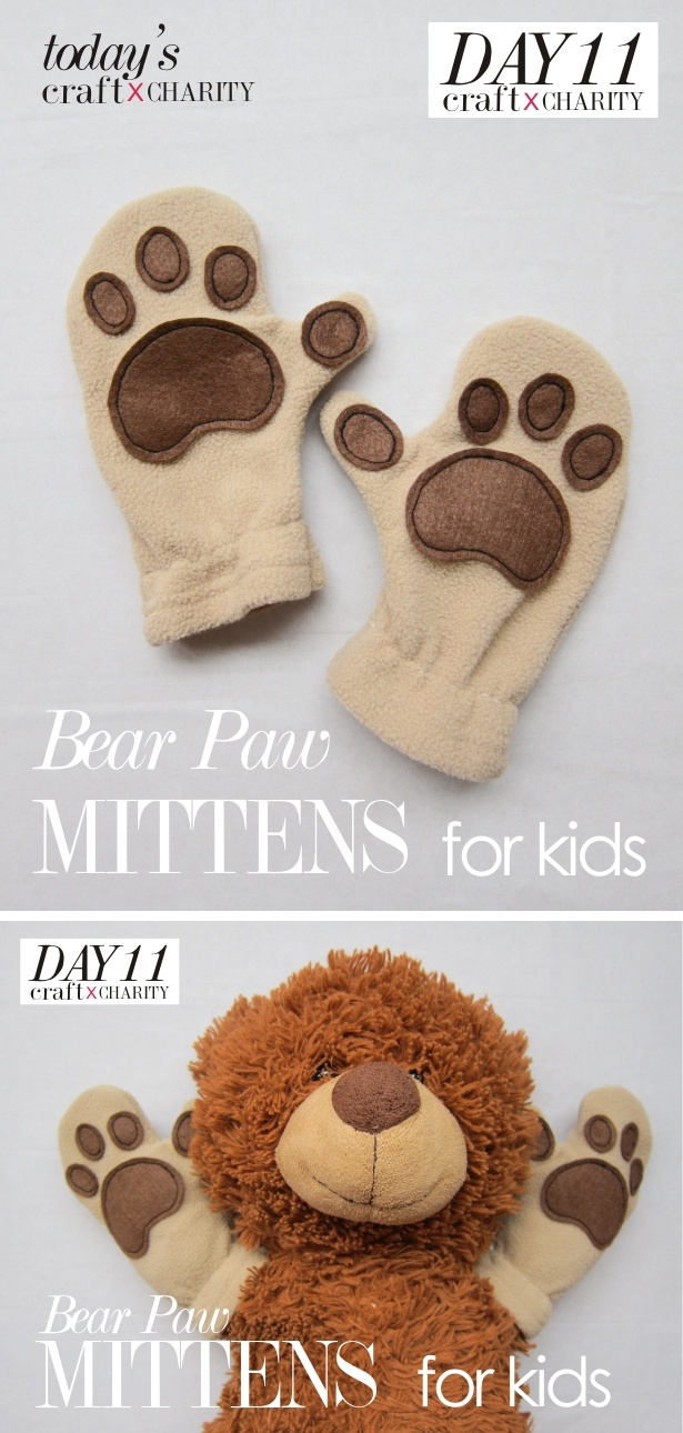 Day 11 - Bear Paw Mittens for kids