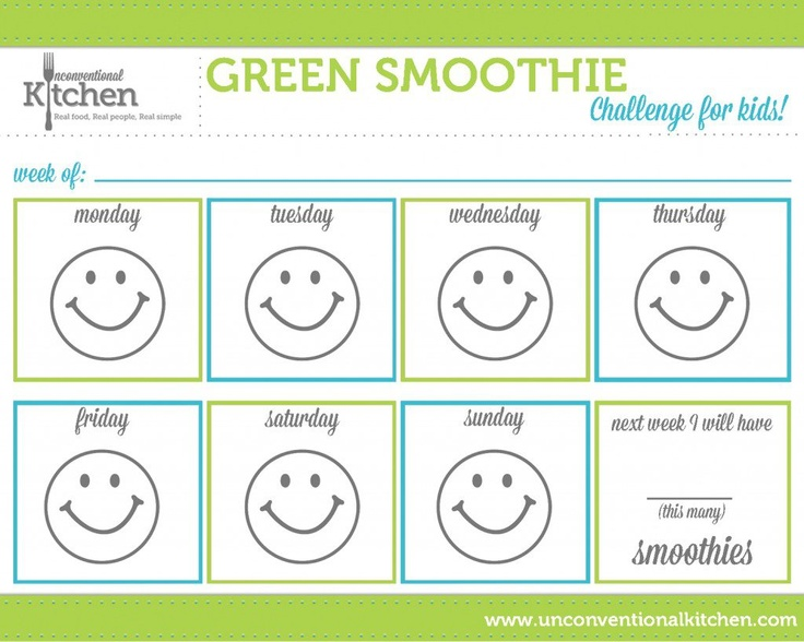 Some of you may be thinking...how in the heck can I get my kids to get in on drinking green smoothies?? Well we have a fun (FREE) printable chart for your kiddos and some ideas on how to get them drinking them with you.