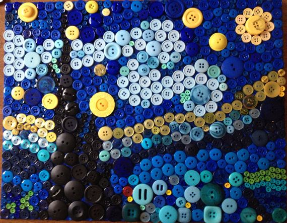 Button Van Gogh's Starry Night by RusticButton on Etsy, $60.00