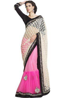 Wonderful Dual Colored Pure Net Wedding Saree Sarees on Shimply.com