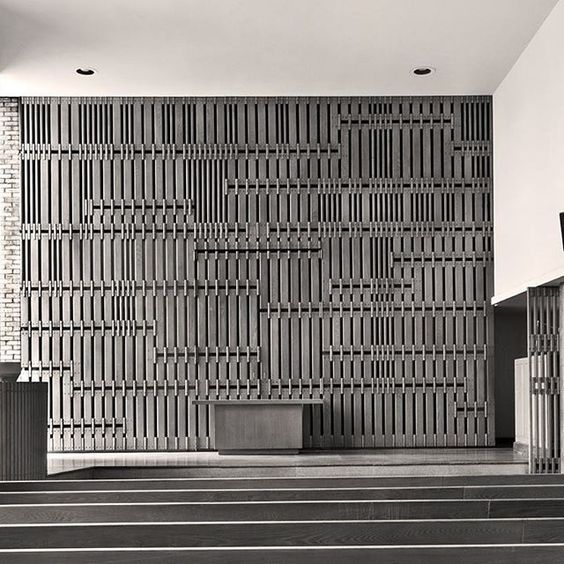 One of my favorite spaces in the historic First Christian Church, designed by Eliel Saarinen (1942), the Chapel's wonderful asymmetry and floor to ceiling windows, invite light to sweep from left to right across the surface of that amazing screen...very serene and natural. | Instagram photo by Hadley Fruits