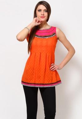 Cotton Printed Orange Kurti