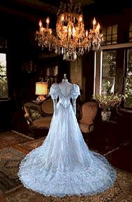Victorian Style Gown of Silver Blue Embroidered Organza
