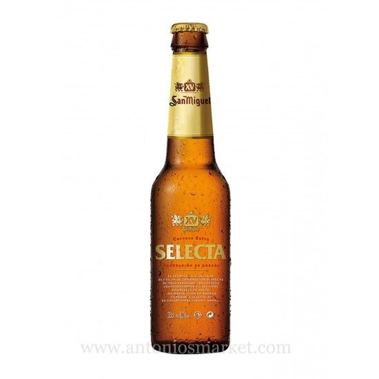 San Miguel Selecta (24 units pack)  The San Miguel Selecta is a #classic #Spanish #beer that has re-invented itself with an improved image while keeping the original essence intact. The nose shows #flavors of grass, hops, #malt and #grains and the taste is #sweet with hint of citrus.