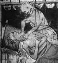 Рис. 5.7. Черная смерть. Из Stiny Codex, XIV столетие. Университетская библиотека, Прага, Чешская республика