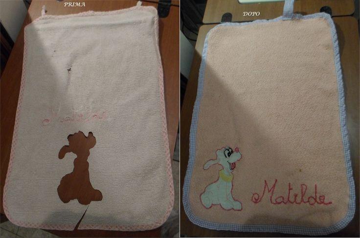 Questa invece è la storia di un asciugamano a cui mia figlia è particolarmente legata. l'ha sempre usato a scuola, e si vede da quanto è consumato... ho ritagliato la sagoma del cane dal vecchio asciugamano e l'ho cucita su un asciugamano in disuso, un nuovo bordino e lei è contenta. :)