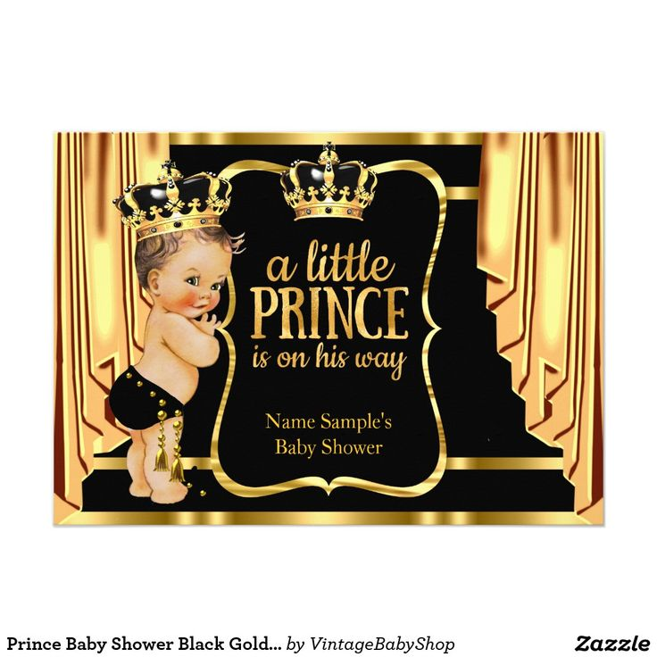 Prince Baby Shower Black Gold Drapes Brunette Card