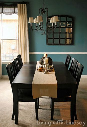 Website with all sorts of paint colors on walls!  The is Smoked Turquoise....maybe the hubby will allow me to do this in the dining room.