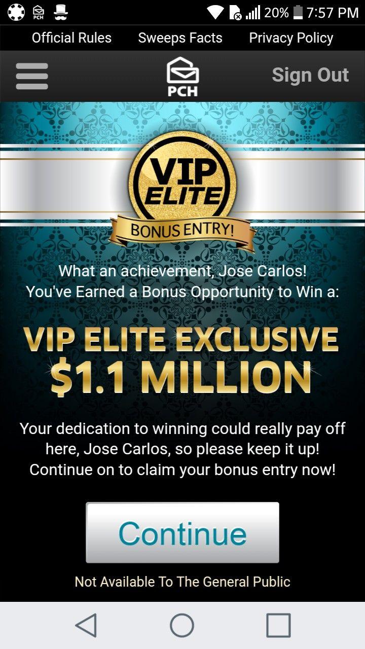 I jcg claim pch vip elite exclusive 11 million pch