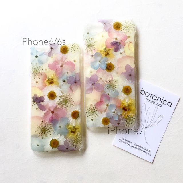 本物のお花をたくさん封じ込めた押し花iPhoneケース。他サイトにてSOUL'd OUTとなりました。参考商品として展示しております。