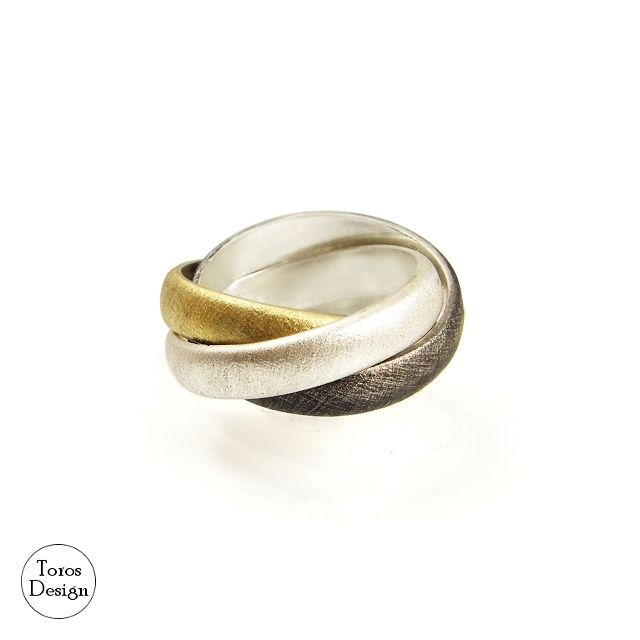 Szeroka potrójna obrączka / Toros Design / Biżuteria / Pierścionki