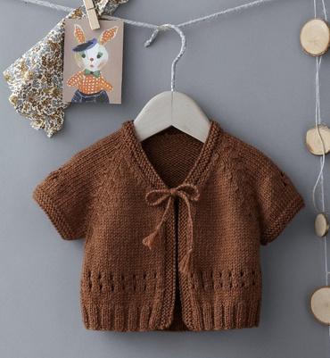 Modèle cardigan point fantaisie - Modèles tricot layette - Phildar