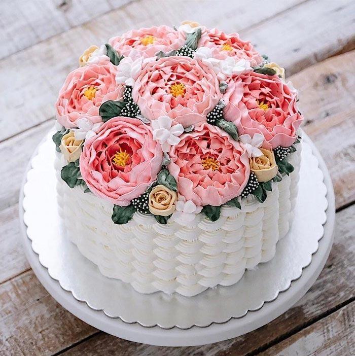 Подруге, открытка с днем рождения торт цветы