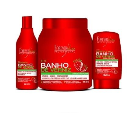 Veja nosso novo produto Kit Banho de Verniz Morango Forever Liss Shampoo 500ml, Máscara 1kg e Leave-in 150gr! Se gostar, pode nos ajudar pinando-o em algum de seus painéis :)
